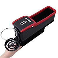 WEILYDF Car Storage Box Multi-Functional Leather Car Seat Organizer Simple Durable Cup Coin USB Charging Line Storage Container Car Seat Gap Filler Organizer Box,Passenger Side