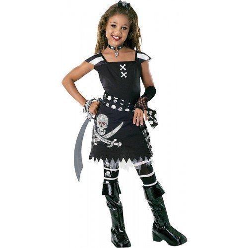 �dchen schwarz weiß Piraten büchertag Halloween Party Kostüm Kleid Outfit 3-10 Jahre - Schwarz/weiß, 5-7 Years, Schwarz/weiß (Piraten Kostüme Taille Schärpe)