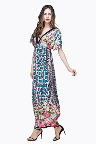 Smile YKK Femme Robe Longue Manches Courtes Colonne V Col Imprimée Floral Casual Beach Bleu Rayures