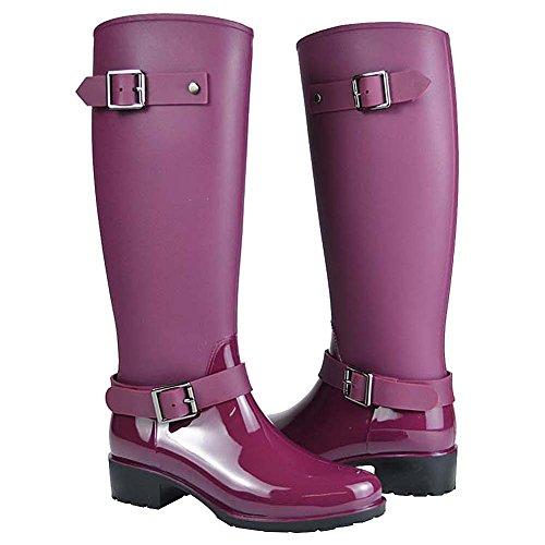 Jamron Damen Stilvoll Schnee Regen Festival Groß Wellies Einstellbar Gürtelschnalle Knie hoch Reißverschluss Gummistiefel Violett