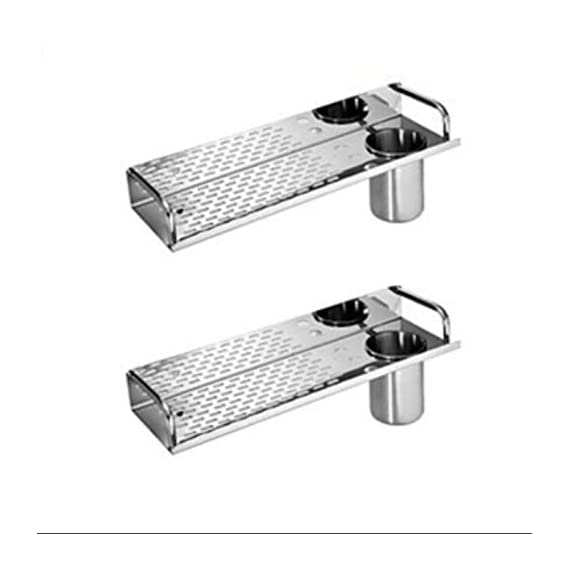 SBD Diamond Multi Purpose Stainless Steel Shelf with Tumbler Chrome Finished (Silver, 15x4.5-inch) - Pack of 2