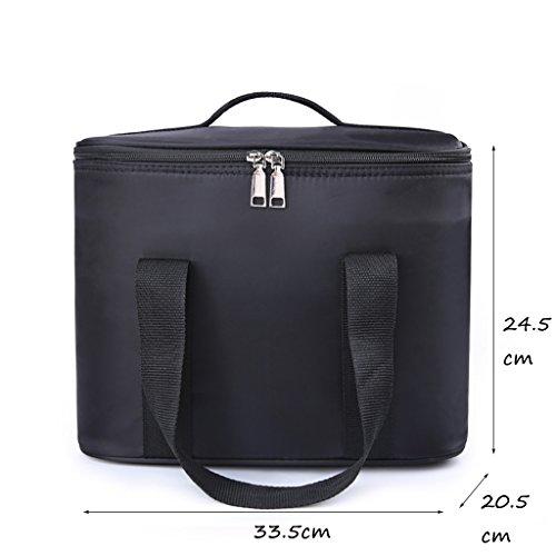 CLOTHES- Scatola di immagazzinaggio di caso cosmetica portatile della borsa di lavaggio della borsa cosmetica portatile ad alta capacità di allievo delle signore ( Colore : Rosso ) Nero
