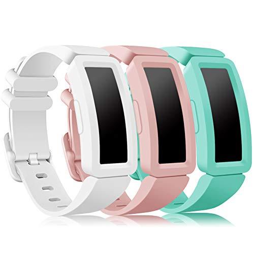 Onedream Kompatibel für Fitbit Ace 2 Armband Kids, Klassische Sport Band Silikon Ersatzzubehör Armbänder Kompatibel für Fitbit Ace 2 & Inspire HR Kinder (Weiß + Hellrosa + Seeblau)