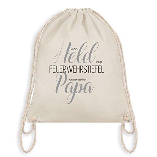 Feuerwehr Kind - Papa Feuerwehrmann Handlettering - Turnbeutel I Gym Bag Naturweiß