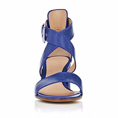 EDEFS Femmes Sandales Bout Ouvert Bloc Hauts Chaussures Boucle Fermeture Escarpins Navy