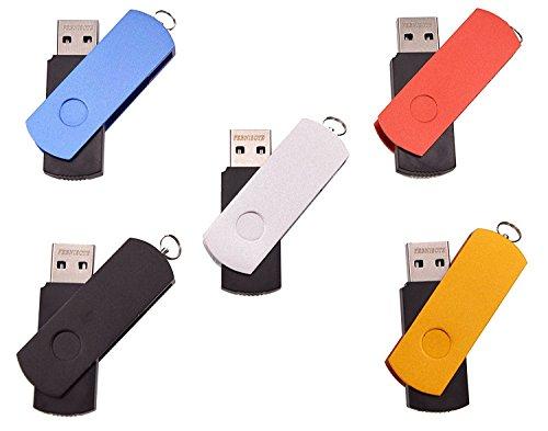 FEBNISCTE 5 pezzi 2GB Chiavette USB EURO Pennetta USB2.0 Girevole Pen Drive (5 Multicolore: Nero Blu Oro Argento Rosso)