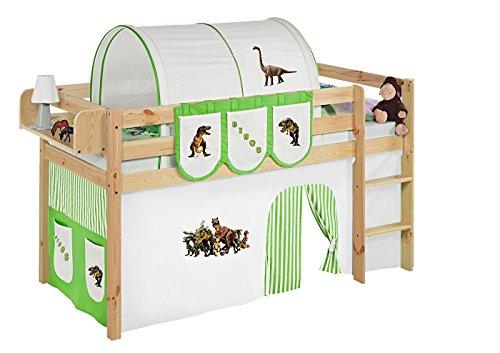 Lilokids JELLE2054KN-DINOS-GRUEN Spielbett Jelle Dinos, Hochbett mit Vorhang Kinderbett, Holz, grün / beige, 208 x 98 x 113 cm