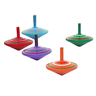 AUFODARA Set of 4 Wooden Attractive Colorful Spinning Tops Family Games Toys