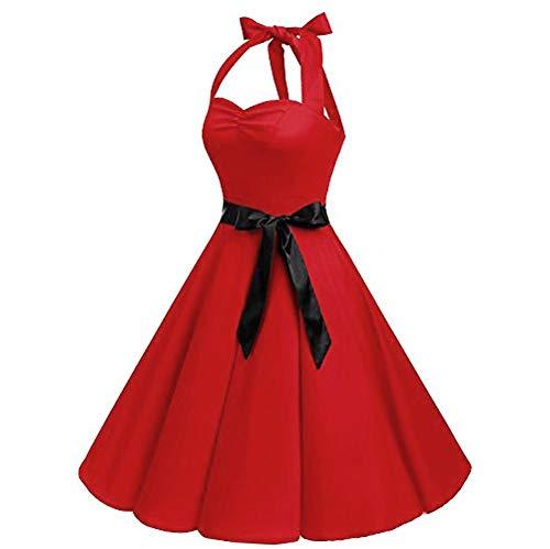 KPILP Frauen Ärmellos Formelle Kleidung 1950er Polka Dot Spitze Plus Größe Hepburn Party Prom Vintage Elegante Schaukel Hohe Taille Gefaltetes Kleid Petticoat(C-rot,EU-48/CN-3XL