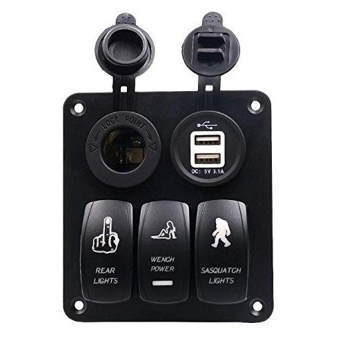 AST Works 5Gang Waterproof Car Auto Boat Marine LED Rocker Switch Panel Circuit Breakers