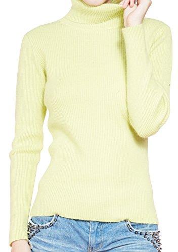 LongMing Damen 100% Kaschmir Pullover for Winter Warm Lange Ärmel Hoher Hals und Figur Schmeichelnde Sim Swaeter (S / EU Size 36/38, Zitrone) (Gelb Kaschmir-pullover)