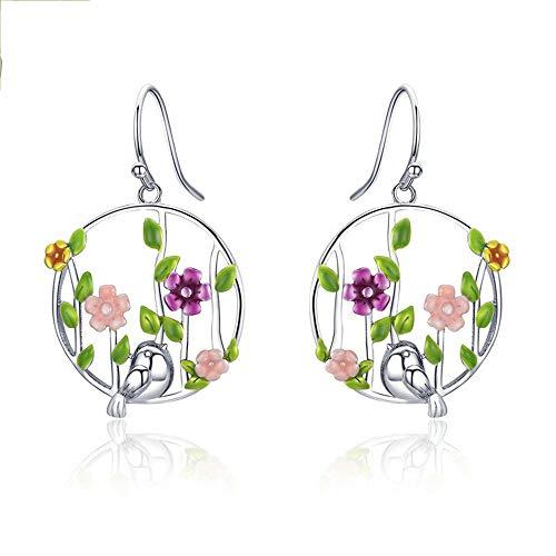 Kreative Ohrringe Wald-frische Farblegierungs-Edelstein Suitble der Frauen für Geburtstag, Geschenk der Frauen Tagesmit 925 silberner Nadel-schönen Ohrringen Geschenke für Damen