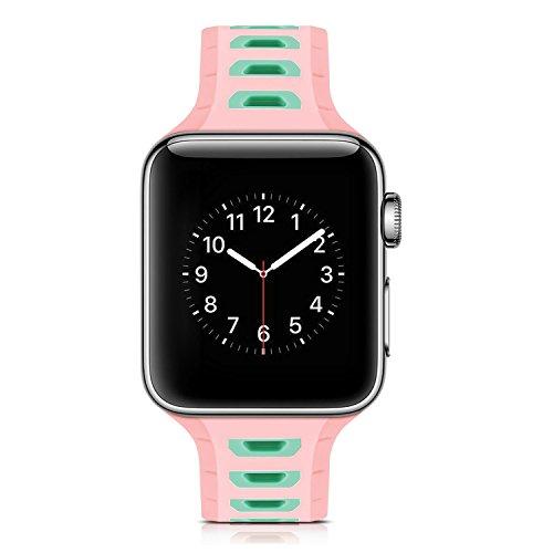 Preisvergleich Produktbild Armband für Apple Watch 38mm, PU Leder Ersatzband mit Edelstahl Gürtelschnalle Leder Uhrenarmband für Apple Watch 38mm Series 1 / 2 / 3 (* / 286) (7)