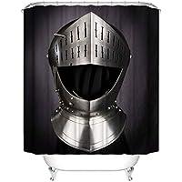 Cortina de la ducha XINGUANG Negra Creativa 3D Cortina De División De Baño 100% Poliéster (Caballero Casco 180cm * 200cm) Cortina