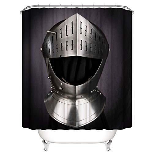 Duschvorhang Schwarz Kreative 3D Druck 100% Polyester Badezimmer Partition Vorhang (Ritter Helm 180 cm * 200 cm)