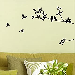 Birds Flying Black Tree Branches Wall Sticker Vinyl Art Decal Mural Home Decor by Acefast INC