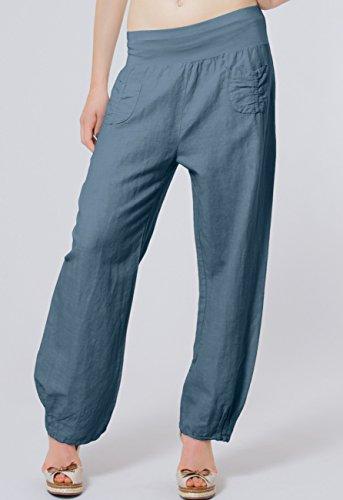 CASPAR KHS006 leichte bequeme Damen Sommerhose / Leinenhose Größen 36 S bis 46 XXXL Jeans Blau