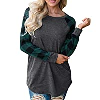 Y56 Womens Basball T-shirts Casual Tops O-Neck Plaid Print Long Sleeve Sweatshirt Pullover Tops Blouse Shirt