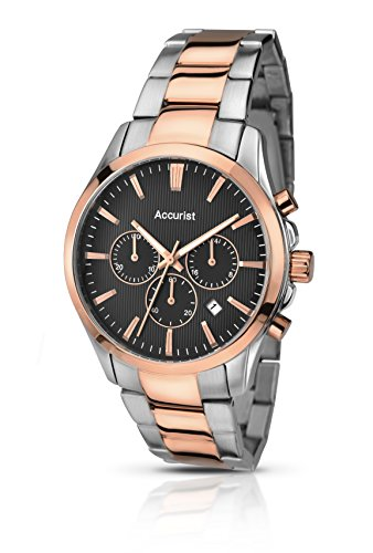 Accurist Men's Quartz Watch with Black Dial Chronograph Display and Two Tone Rose Gold Plated Stainless Steel Bracelet Mb643B