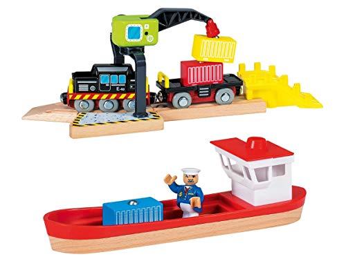 Playtive Junior Frachthafen Schiff Lok Hafen Kran Magnet 12-teilig