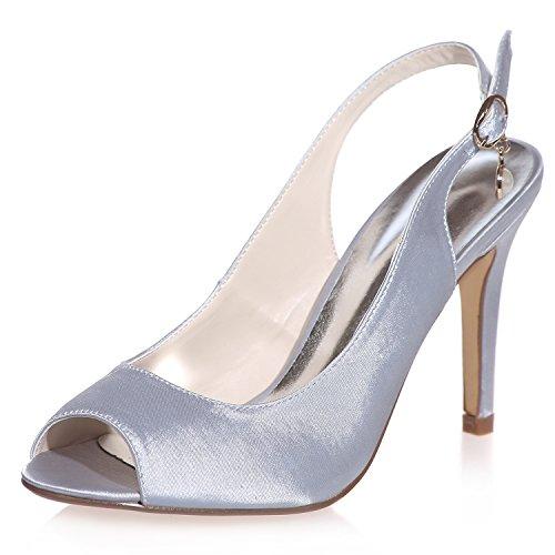 Scarpe da sposa comode per donna tacchi alti décolleté peep toe fibbia in raso taglia da sposa 35-42 navy ivory / 13p 5623-18, silver, 38