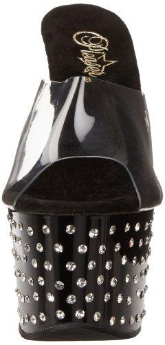 Pleaser Stardust-701, Sandales Plateau femme Noir (Clr/Blk)