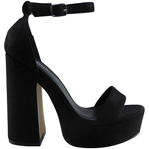 Da donna Cinturino alla caviglia piattaforma Bloccare Tacco Sandali Scarpe Dimensione 36-41 CAMOSCIO NERO