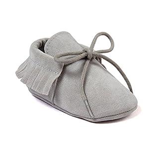 Auxma Baby Mädchen Junge Wiege-Quasten-weiche alleinige einzelne beiläufige Schuhe (11cm/0-6 Monate, grau)