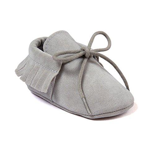Auxma Baby Mädchen Junge Wiege-Quasten-weiche alleinige einzelne beiläufige Schuhe (11cm/0-6 Monate, Rose) grau