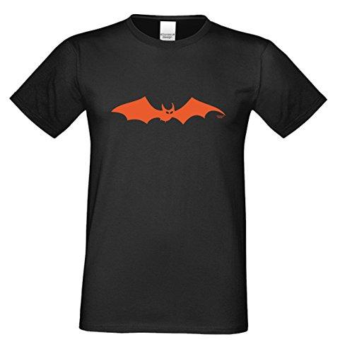 Grusel T-Shirt Herren Fun-Motiv Fledermaus Geschenkidee Geburtstagsgeschenk Hexen Gespenster Geister Farbe: schwarz Schwarz