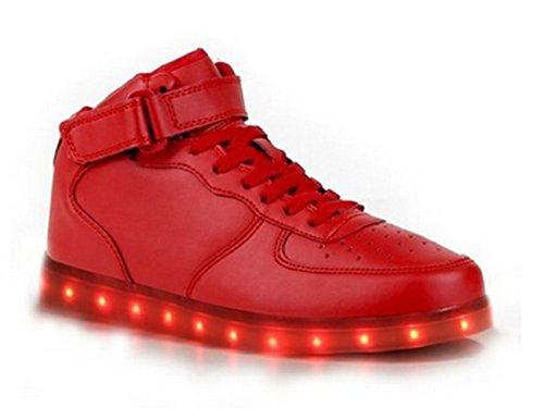 [Present:kleines Handtuch]JUNGLEST® 7 Farbe Wechseln USB aufladen LED-Licht Leuchtend Mode Sportschuhe Freizeitschuhe Outdoorschuhe Laufschuhe Schuhe Sneaker fü Rot