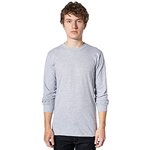 Men's Fine Jersey Long Sleeve T-shirt (2007) American Apparel Dual Stitch Detailing (X-Large, Heather Grey)