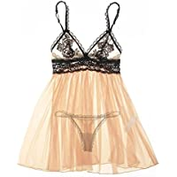 Sexy Lingerie Babydoll Strap Backless Sleepwear pizzo da notte delle donne , nude color , s - Baby Doll Sling
