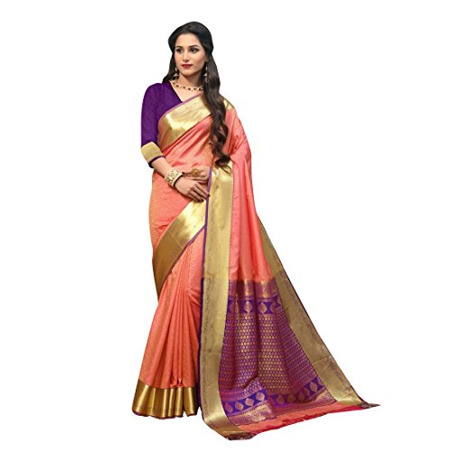 Craftsvilla Women's Traditional Peach Silk Blend Zari Work Saree with Blouse Piece