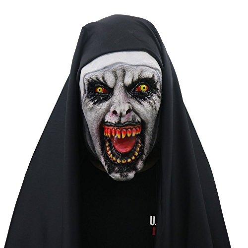 QWhing Festival-Maske Halloween Nonne Maske Horror Scary Horror weibliches Gesicht ordentlich Party, schwarz Kostüm ()