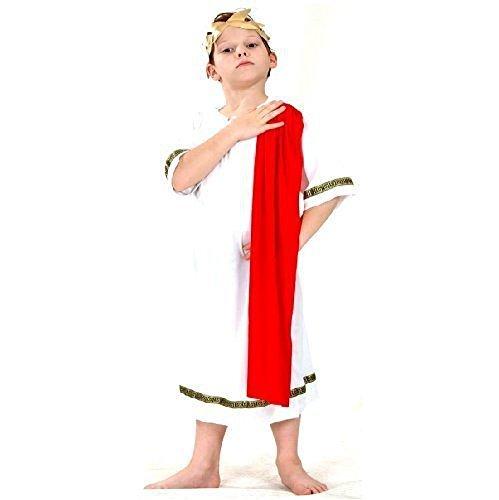 Römischen Childs Kostüm Toga - Kinder rot Römischen Kaisers Caesar Griechische Toga Abendkleidkostüm Schal 7-9 Jahre