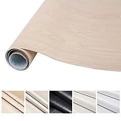 Idea Regalo - KINLO 0.61M*5M(1 rotolo) Adesiva per Mobili Finto legno grano Beige PVC Impermeabile Antibatterico e Anti-umidità Wall Sticker autoadesive rinnovato mobili/parete/vetro/marmo ecc.