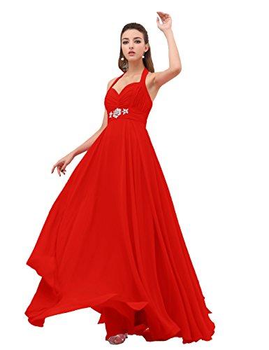 Dresstells, gaine / colonne v-cou-parole longueur Robe de Demoiselle d'Honneur en Mousseline de Soie Rouge