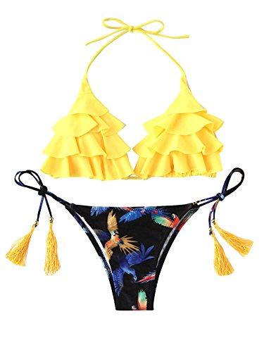 SOLYHUX Mujer Conjunto De Bikini Con Estampado De Pájaro De Volante Con Cordones Con Borla,Push Up Básico +2 PCS Traje de Baño 2018 Verano Sexy