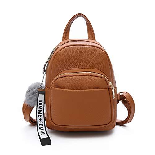 chenpaif Damen PU-Leder Rucksäcke Mini süß Reise Rucksack Ball Anhänger Schulranzen Handtaschen Pink braun -