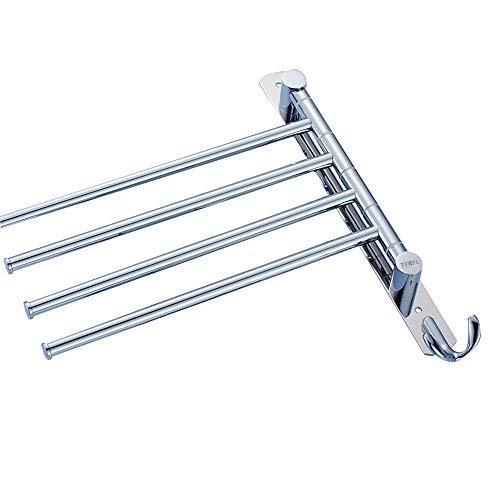Tfcfl, barra portasciugamani in acciaio inox, per montaggio a parete, con ganci a bracci girevoli, finitura lucida
