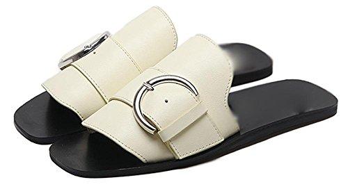 boucle de ceinture de lettres sandales à talons bas meters white
