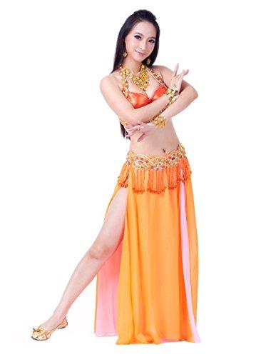 auchtanz Anzug, einzigartiges Design (Perlen verziert Bra + Taille Kette + Hoch schlitzte Chiffon- Rock) (Orange Fairy Kleid)