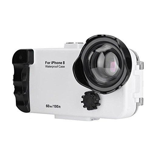 Fosa 195ft Unterwasser 60meter Tauchen Fall 360 ° Schutz Fotos Tauchen Fall Schutzhülle für iPhone 8/8P(Weiß 8)