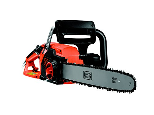 Black+Decker 2200W Elektro-Kettensäge, Motorsäge, 45cm Schwertlänge, 12.5m/s Kettengeschwindigkeit, rückschlagarm Kettenbremse, CS2245, schwarz orange