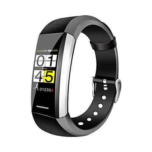 TYWZF Fitness Trackers Podómetro Temperatura Control Remoto del Ritmo Cardíaco Foto para Android iOS,Black