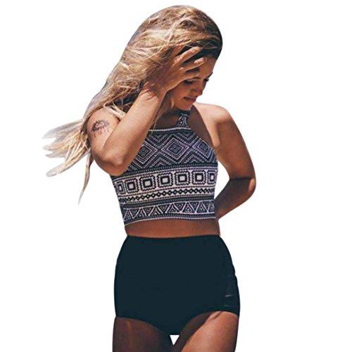 Badeanzug Damen Elegant, LHWY Hohe Taille Bikinis Set Frauen Bademode Schwarz Plus Size Badeanzug Weibliche Retro Beachwear Weste Tops Unterwäsche 2018 Neues Design (S, Schwarz) (Bikini Neue Mädchen)
