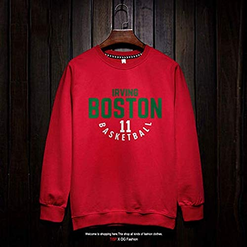 Shelfin Herren Trikot NBA Langarm Hemd Boston Celtics Kyrie Irving New Jersey Fashion Basketball Sweatshirt T-Shirt (Color : Red3, Size : XL) -
