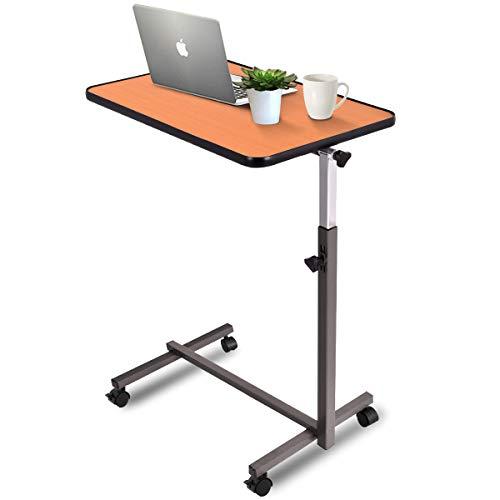 COSTWAY Laptoptisch höhenverstellbar, Pflegetisch Notebooktisch Betttisch Sofatisch Rolltisch, neigbare Tischplatte mit Rollen (Natur) -