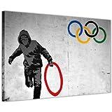 "Banksy fotos lienzo Prints matón Robo de olímpico Anillo Impresión de fotos decoración del hogar arte callejero Graffiti, lona, 0- A4 - 12"" X 8"" (30CM X 20CM)"